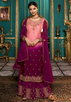 Embroidered Satin Georgette Pakistani Suit in Shaded Peach and Magenta