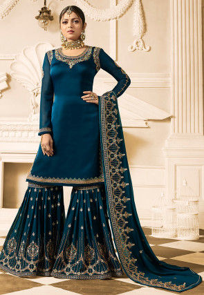 Embroidered Satin Georgette Pakistani Suit in Teal Blue