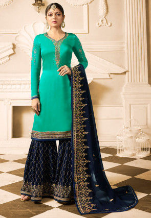 Embroidered Satin Georgette Pakistani Suit in Teal Green