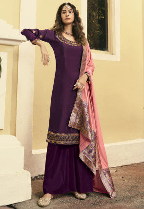 Embroidered Satin Georgette Pakistani Suit in Wine