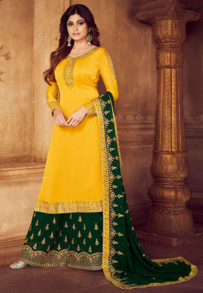 Embroidered Satin Georgette Pakistani Suit in Yellow