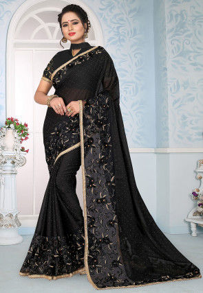 Embroidered Satin Georgette Saree in Black