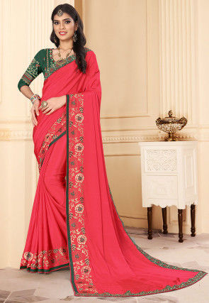 Embroidered Satin Georgette Saree in Coral Pink