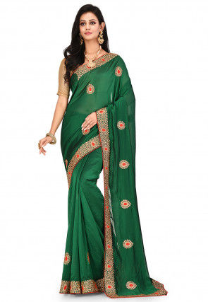 Embroidered Satin Georgette Saree in Dark Green