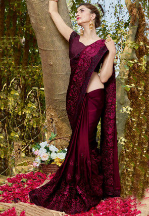 Embroidered Satin Georgette Saree in Dark Purple