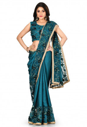 Embroidered Satin Georgette Saree in Dark Teal Blue