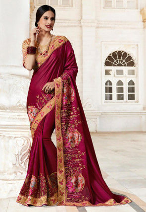Embroidered Satin Georgette Saree in Maroon