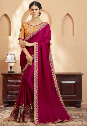 Embroidered Satin Georgette Saree in Fuchsia