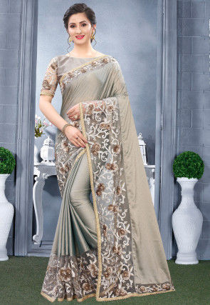 Embroidered Satin Georgette Saree in Grey