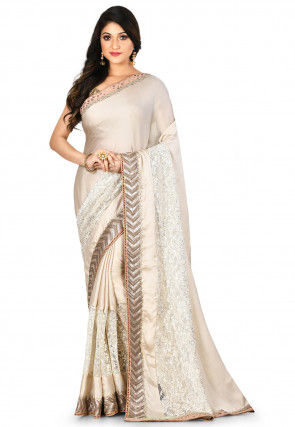 Embroidered Satin Georgette Saree in Light Fawn
