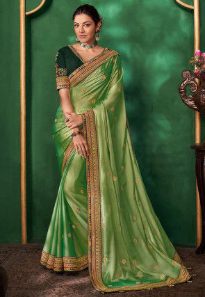 Embroidered Satin Georgette Saree in Light Green