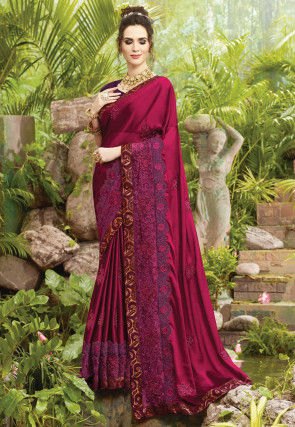 Embroidered Satin Georgette Saree in Magenta
