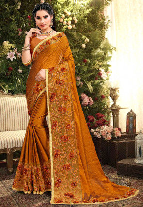 Embroidered Satin Georgette Saree in Mustard