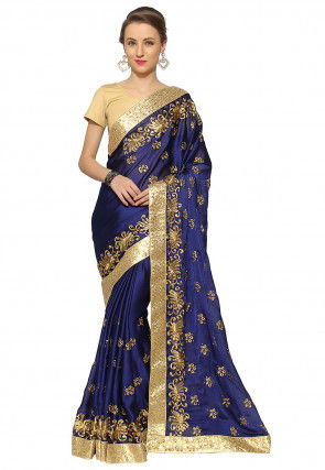 Embroidered Satin Georgette Saree in Navy Blue