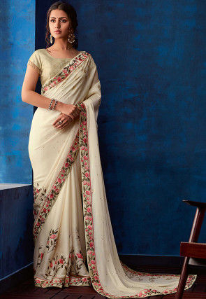 Embroidered Satin Georgette Saree in Off White