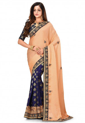 Embroidered Satin Georgette Saree in Orange and Blue