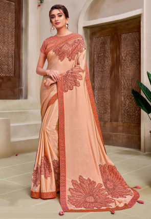 Embroidered Satin Georgette Saree in Peach