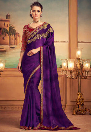 Embroidered Satin Georgette Saree in Purple