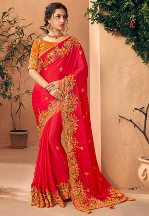 Embroidered Satin Georgette Saree in Red