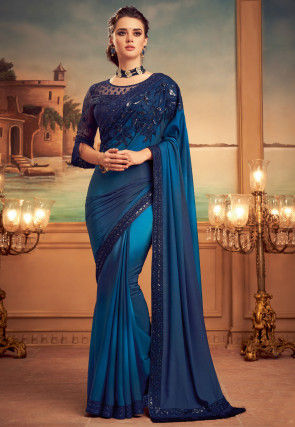 Embroidered Satin Georgette Saree in Shaded Blue