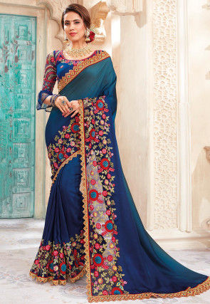 Embroidered Satin Georgette Saree in Shaded Teal Blue and Navy Blue
