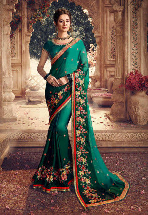 Embroidered Satin Georgette Saree in Shaded Teal Green