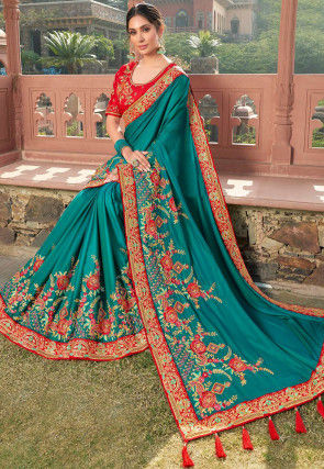 Embroidered Satin Georgette Saree in Teal Blue