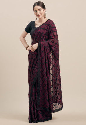 Embroidered Satin Georgette Saree in Wine