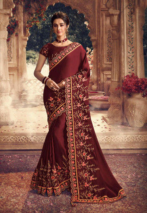 Embroidered Satin Georgette Scalloped Saree in Maroon