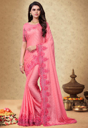 Embroidered Satin Georgette Scalloped Saree in Pink