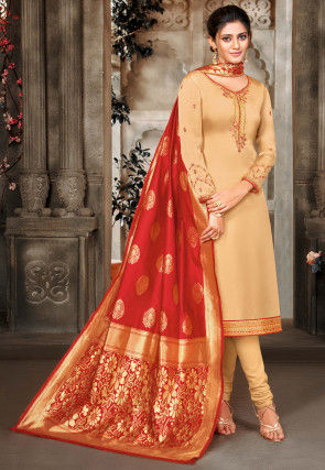 Embroidered Satin Georgette Straight Suit in Beige