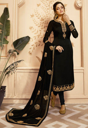 Embroidered Satin Georgette Straight Suit in Black