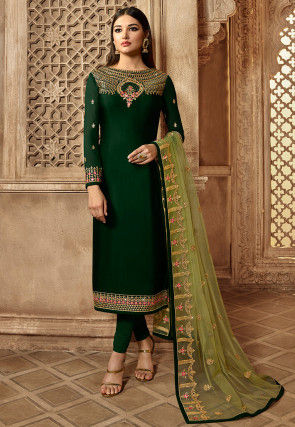 Embroidered Satin Georgette Straight Suit in Dark Green