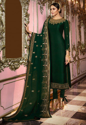 Embroidered Satin Georgette Straight Suit in Dark Green