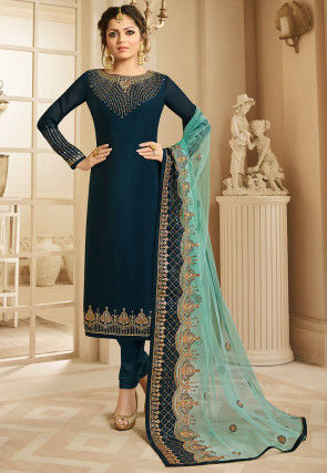 Embroidered Satin Georgette Straight Suit in Dark Teal Blue