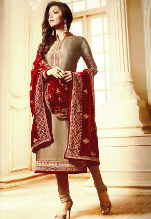 Embroidered Satin Georgette Straight Suit in Fawn