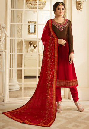 Embroidered Satin Georgette Straight Suit in Fuchsia and Brown