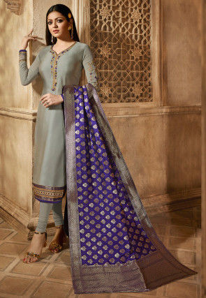 Embroidered Satin Georgette Straight Suit in Grey