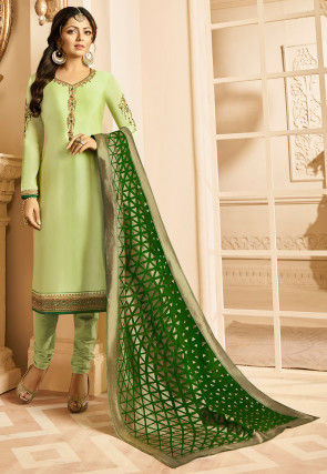 Embroidered Satin Georgette Straight Suit in Light Green