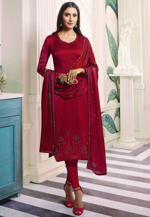 Embroidered Satin Georgette Straight Suit in Magenta