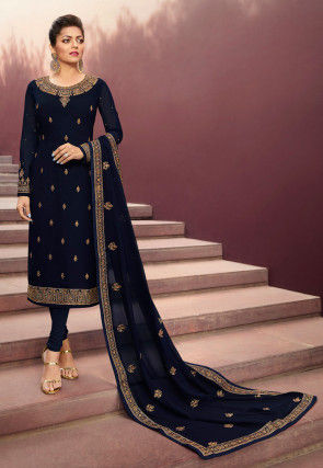 Embroidered Satin Georgette Straight Suit in Navy Blue