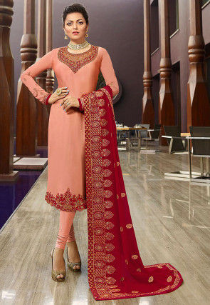 Embroidered Satin Georgette Straight Suit in Peach