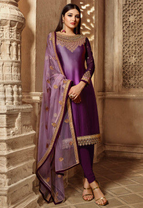 Embroidered Satin Georgette Straight Suit in Purple Ombre