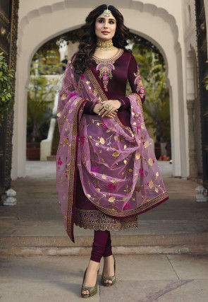 Embroidered Georgette Straight Suit in Purple