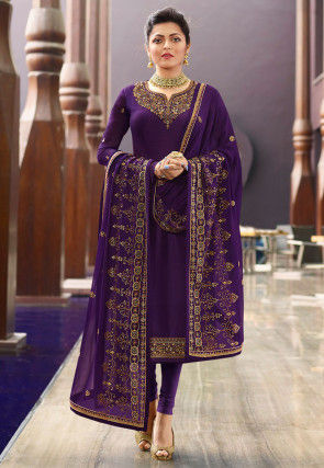 Embroidered Satin Georgette Straight Suit in Purple