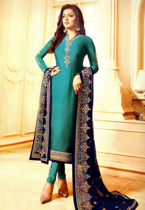 Embroidered Satin Georgette Straight Suit in Turquoise