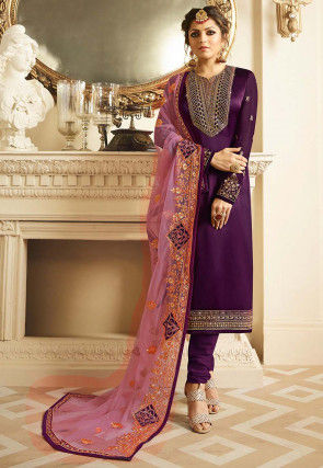 Embroidered Satin Georgette Straight Suit in Violet