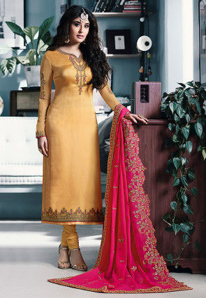 Embroidered Satin Georgette Straight Suit in Yellow