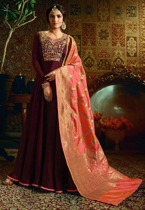 Embroidered Satin Gorgette Abaya Style Suit in Maroon