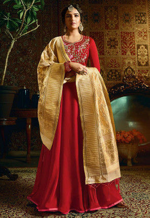 Embroidered Satin Gorgette Abaya Style Suit in Red
